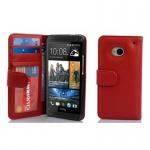 Cadorabo Hülle für HTC ONE M7 (1. Gen.) - Hülle in INFERNO ROT ? Handyhülle mit 3 Kartenfächern - Case Cover Schutzhülle Etui Tasche Book Klapp Style