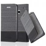 Cadorabo Hülle für HTC ONE M7 (1. Gen.) - Hülle in GRAU SCHWARZ ? Handyhülle mit Standfunktion und Kartenfach im Stoff Design - Case Cover Schutzhülle Etui Tasche Book
