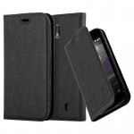 Cadorabo Hülle für Nokia 1 2017 - Hülle in NACHT SCHWARZ - Handyhülle mit Magnetverschluss, Standfunktion und Kartenfach - Case Cover Schutzhülle Etui Tasche Book Klapp Style