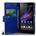 Cadorabo Hülle für Sony Xperia Z (1.Gen.) - Hülle in BRILLANT BLAU ? Handyhülle mit Kartenfach aus glattem Kunstleder - Case Cover Schutzhülle Etui Tasche Book Klapp Style