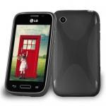 Cadorabo Hülle für LG L40 (1. Sim-Version) in OXID SCHWARZ - Handyhülle aus flexiblem TPU Silikon - Silikonhülle Schutzhülle Ultra Slim Soft Back Cover Case Bumper