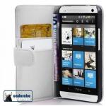 Cadorabo Hülle für HTC ONE M7 (1. Gen.) - Hülle in POLAR WEIß - Handyhülle mit Kartenfach aus glattem Kunstleder - Case Cover Schutzhülle Etui Tasche Book Klapp Style