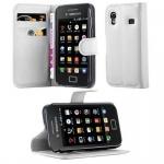 Cadorabo Hülle für Samsung Galaxy ACE 1 - Hülle in ARKTIS WEIß ? Handyhülle mit Kartenfach und Standfunktion - Case Cover Schutzhülle Etui Tasche Book Klapp Style