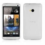 Cadorabo Hülle für HTC ONE M7 (1.Gen.) - Hülle in HALB TRANSPARENT â€? Handyhülle aus flexiblem TPU Silikon im X-Line Design - Ultra Slim Soft Backcover Case Bumper