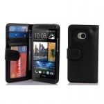 Cadorabo Hülle für HTC ONE M7 (1. Gen.) - Hülle in OXID SCHWARZ ? Handyhülle mit 3 Kartenfächern - Case Cover Schutzhülle Etui Tasche Book Klapp Style