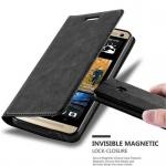 Cadorabo Hülle für HTC ONE M7 (1.Gen.) - Hülle in NACHT SCHWARZ ? Handyhülle mit Magnetverschluss, Standfunktion und Kartenfach - Case Cover Schutzhülle Etui Tasche Book Klapp Style
