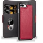 Cadorabo Hülle für Apple iPhone 8 PLUS / 7 PLUS / 7S PLUS - Hülle in GRANATAPFEL ROT ? Handyhülle im 2-in-1 Design mit Standfunktion und Kartenfach - Hard Case Book Etui Schutzhülle Tasche Cover