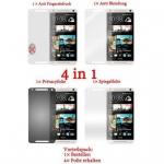 Cadorabo Displayschutzfolien für HTC ONE M4 MINI (1.Gen.) - Schutzfolien in HIGH CLEAR - 4 Folien (1x Privacy - 1x Spiegel - 1x Matt - 1x Anti-Fingerabdruck)