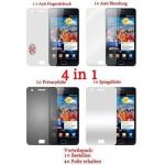 Cadorabo Displayschutzfolien für Samsung Galaxy S2 / S2 PLUS - Schutzfolien in HIGH CLEAR - 4 Folien (1x Privacy - 1x Spiegel - 1x Matt - 1x Anti-Fingerabdruck)