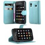 Cadorabo Hülle für Samsung Galaxy ACE 1 - Hülle in PASTEL BLAU ? Handyhülle mit Kartenfach und Standfunktion - Case Cover Schutzhülle Etui Tasche Book Klapp Style