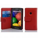 Cadorabo Hülle für Motorola MOTO E (1.Gen.) - Hülle in INFERNO ROT ? Handyhülle mit Kartenfach aus struktriertem Kunstleder - Case Cover Schutzhülle Etui Tasche Book Klapp Style