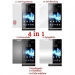 Cadorabo Displayschutzfolien für Sony Xperia S - Schutzfolien in HIGH CLEAR - 4 Folien (1x Privacy - 1x Spiegel - 1x Matt - 1x Anti-Fingerabdruck)