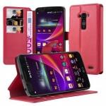 Cadorabo Hülle für LG G FLEX (1.Gen.) - Hülle in KARMIN ROT ? Handyhülle mit 3 Kartenfächern - Case Cover Schutzhülle Etui Tasche Book Klapp Style