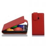Cadorabo Hülle für Motorola MOTO E (1.Gen.) - Hülle in INFERNO ROT â€? Handyhülle aus strukturiertem Kunstleder im Flip Design - Case Cover Schutzhülle Etui Tasche