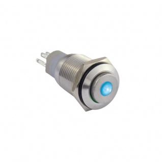 Edelstahl Klingeltaster Drucktaster 16mm mit Punktbeleuchtung blau