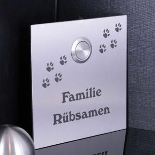 Türklingelschild 100x100mm mit Hundepfoten