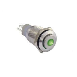 Edelstahl Klingeltaster Drucktaster 16mm mit Punktbeleuchtung grün
