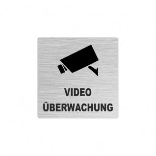 Edelstahlschild 50x50mm Video Überwachung