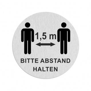 Edelstahlschild BITTE 1, 5 M ABSTAND HALTEN 60mm von Zalafino