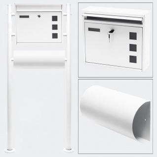 Standbriefkasten mit Zeitungsfach WEISS Briefkasten Postkasten Mettmann