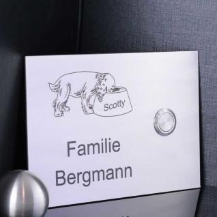 Design Klingelschild 160x110mm Edelstahl Hundemotiv