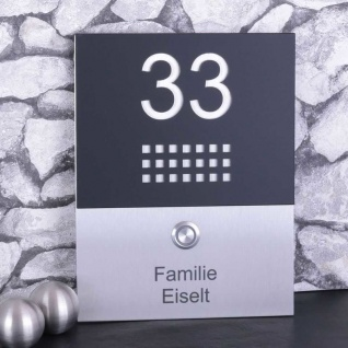 Design Edelstahlklingel 170x220mm mit Acrylglas schwarzmatt