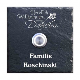 Schiefer Klingelschild 100x100mm Daheim