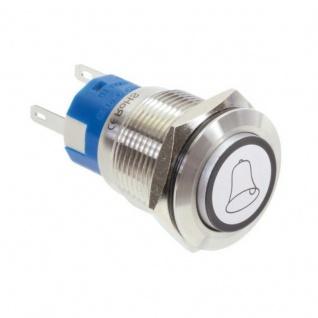 Klingeltaster Drucktaster mit LED Ring Glocken Symbolbeleuchtung erhaben weiß 19mm Durchmesser 5 Pin Lötkontakte