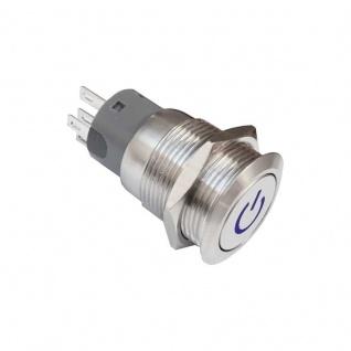 Drucktaster 19mm mit blau beleuchtetem Powersymbol 5 Pin Lötkontakte