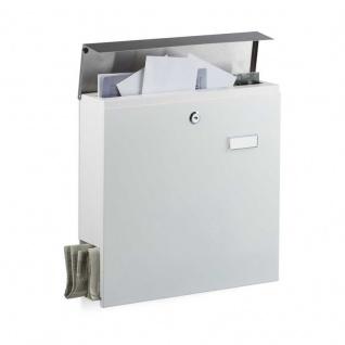 Edelstahl Briefkasten mit Zeitungsfach & Namensschild weiss