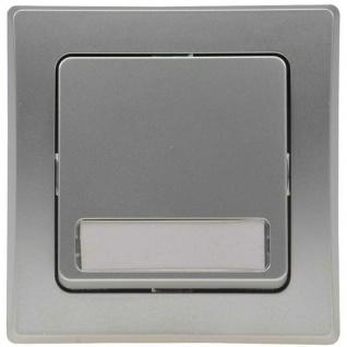 Unterputz Wipptaster mit Namensschild silber 0-250V~/ 10A, inkl. Rahmen - Vorschau 2