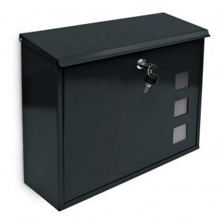 Briefkasten Wandbriefkasten mit 3 Sichtfenster schwarz