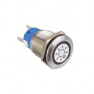 Klingeltaster Drucktaster mit LED Ring Licht Symbolbeleuchtung weiß 19mm Durchmesser 5 Pin Lötkontakte