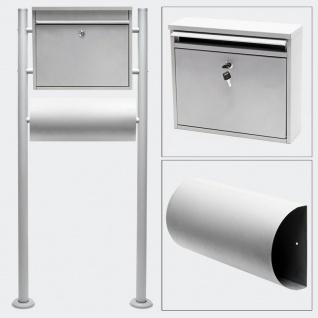 Standbriefkasten mit Zeitungsfach SILBER Briefkasten Postkasten Runkel