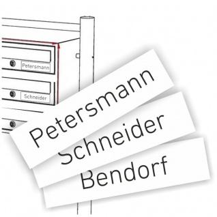 Kunststoffschild 65x16 mm weiss/schwarz passend für Briefkastenanlage