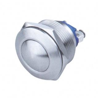 Edelstahl Drucktaster 22 mm, 1 x Schließer Tasterkopf gewölbt mit 2 Schraubkontakten