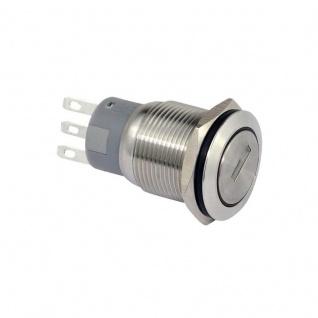 Edelstahl Schlüsselschalter 19 mm 1 x Schliesser, 1 x Öffner mit 2 Schlüssel
