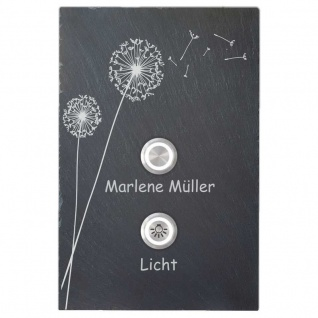 Design Türklingel Schiefer 150x200mm Pusteblume mit Lichttaster