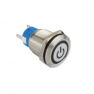 Klingeltaster Drucktaster mit LED Ring Power Symbolbeleuchtung weiß 19mm Durchmesser 5 Pin Lötkontakte