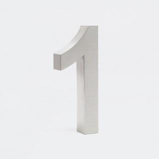 3-D Hausnummer 1 aus Edelstahl 20cm Arial rostfrei und wetterfest