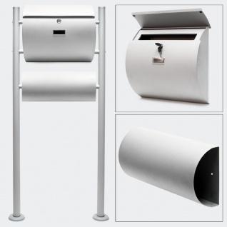 Standbriefkasten mit Zeitungsfach SILBER Briefkasten Postkasten Rheine