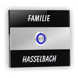 Türklingel Edelstahl 110x90mm schwarz Klingelplatte