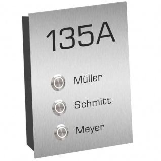 3 Familien Aufputz Edelstahl Türklingel 120x200mm mit LED Taster Melina