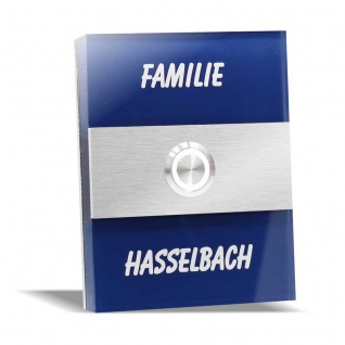 Türklingel Edelstahl 90x110mm blau Klingelplatte