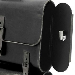 Nostalgie Briefkasten Schulranzen mit Zeitungsrolle Antik-Look Schwarz/Silber - Vorschau 4