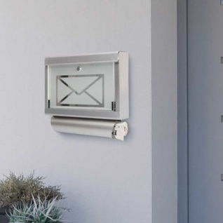 Briefkasten mit Zeitungsrolle aus Edelstahl und Glas Motiv Briefumschlag - Vorschau 2