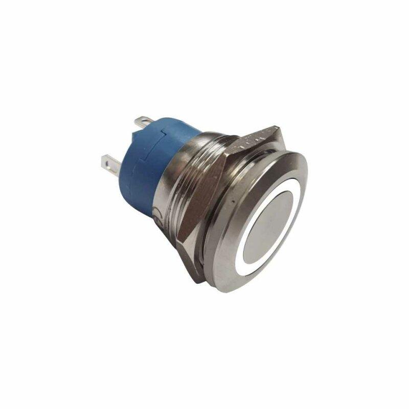 Klingeltaster Drucktaster 19mm LED weiß Ringbeleuchtet 4 Schraubkontakte
