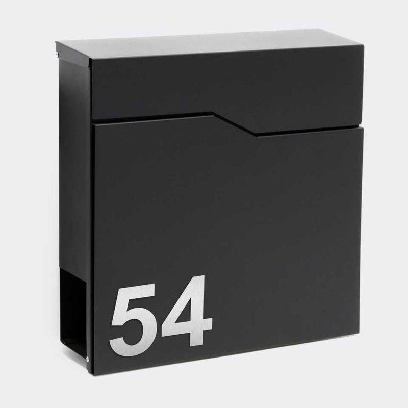 Briefkasten SCHWARZ Wandbriefkasten mit Edelstahl Hausnummer Bonn