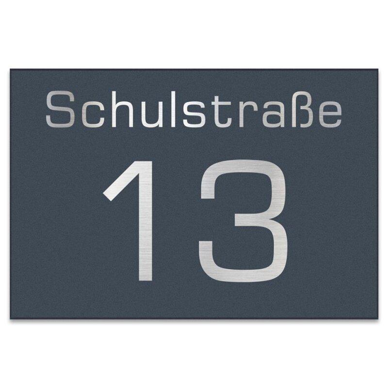 Edelstahl Hausnummer 250x170mm pulverbeschichtet RAL 7016 anthrazit grau  matt