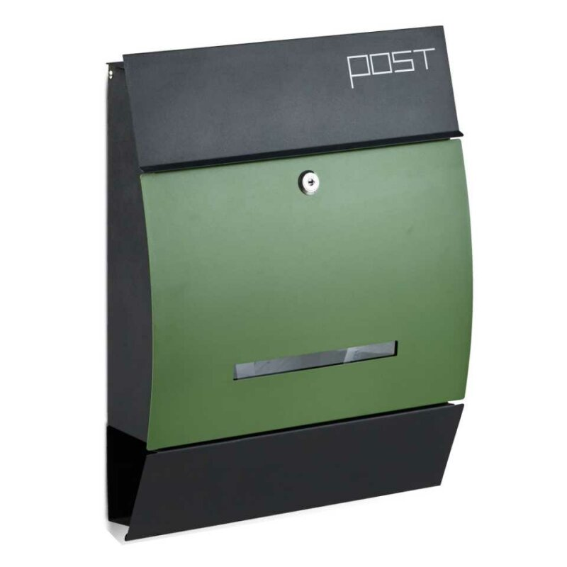 Design Briefkasten Postkasten Mailbox Mit Zeitungsfach Schwarz Grun